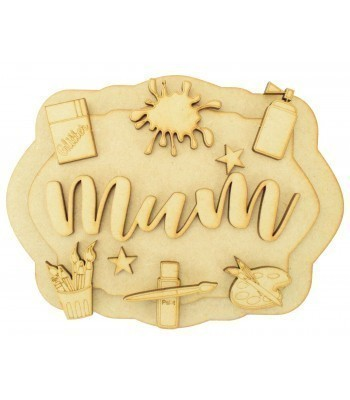Laser Cut Personalised 3D Layered Rectangle Plaque - Craft Themed